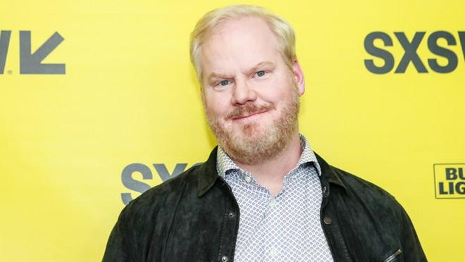 Jim Gaffigan, who stars in the upcoming movie You Can Choose Your Family, posed on the red carpet at the ZACH Theatre Sunday night for the SXSW Film Festival premiere of the movie.