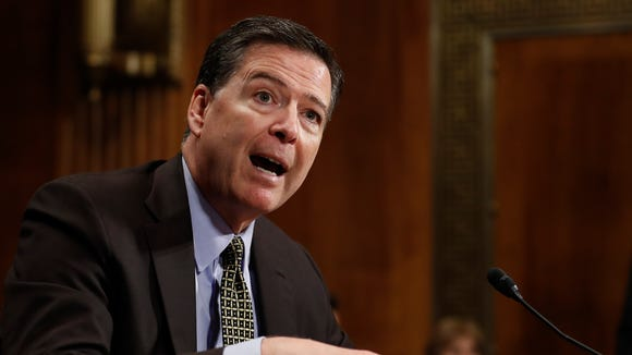 In this May 3, 2017, file photo, then-FBI director James Comey testifies on Capitol Hill.