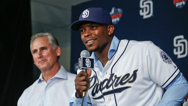 Justin Upton is among the new players manager Bud Black has at his disposal with the Padres in 2015.