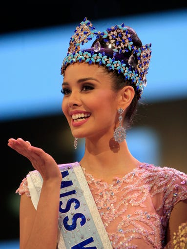 The newly crowned Miss World, Megan Young of the Philippines, smiles after winning the contest in Nusa Dua, Bali, Indonesia, on Sept. 28.