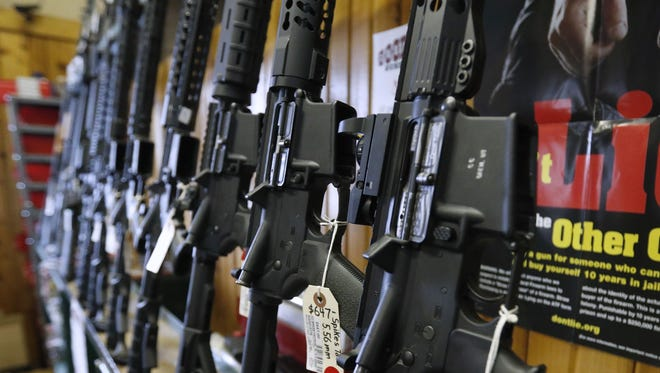 Semiautomatic AR-15s are for sale at Good Guys Guns & Range on Feb. 15, 2018, in Orem, Utah.