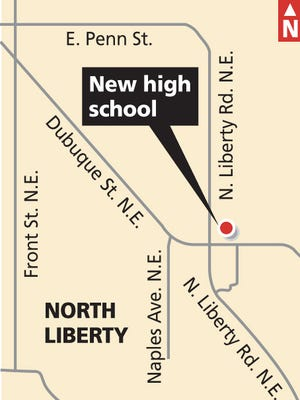 This map shows the location of ICCSD's planned third high school.