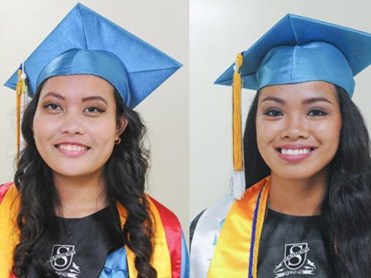 Southern High School Class of 2015 valedictorian Maria Salve Jardeleza, left, and salutatorian Jaena Taitague, right, pose for photos at Southern High School in Santa Rita on June 15.
