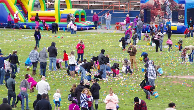 Activities at this Easter celebration in 2016 included the Easter egg hunt and bouncy games.
