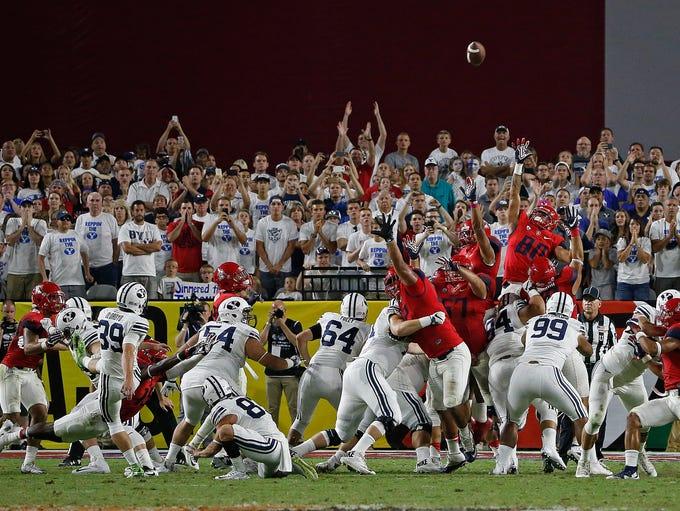 Sept. 3 - BYU 18, Arizona 16. Freshman Jake Oldroyd