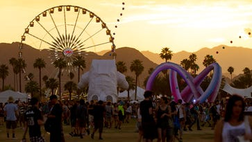 The ferris wheel is photographed during sunset at Coachella Valley Music & Festival Weekend 2 held at Empire Polo Club in Indio on Friday, April 18, 2014.