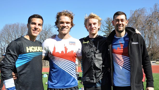 World record-holding 4xmile team of Donn Cabral, Ford Palmer, Graham Crawford and Kyle Merber of the HOKA New Jersey New York Track Club at the Masters School on Monday, Feb 20, 2017.