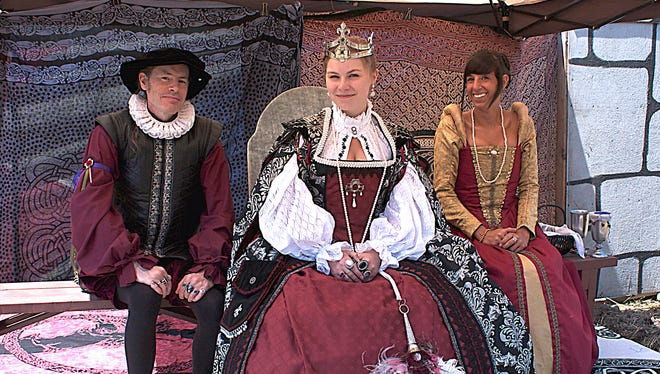 Queen Elizabeth and her court watch the Imperial Knights joust for her entertainment at the Canterbury Renaissance Faire.