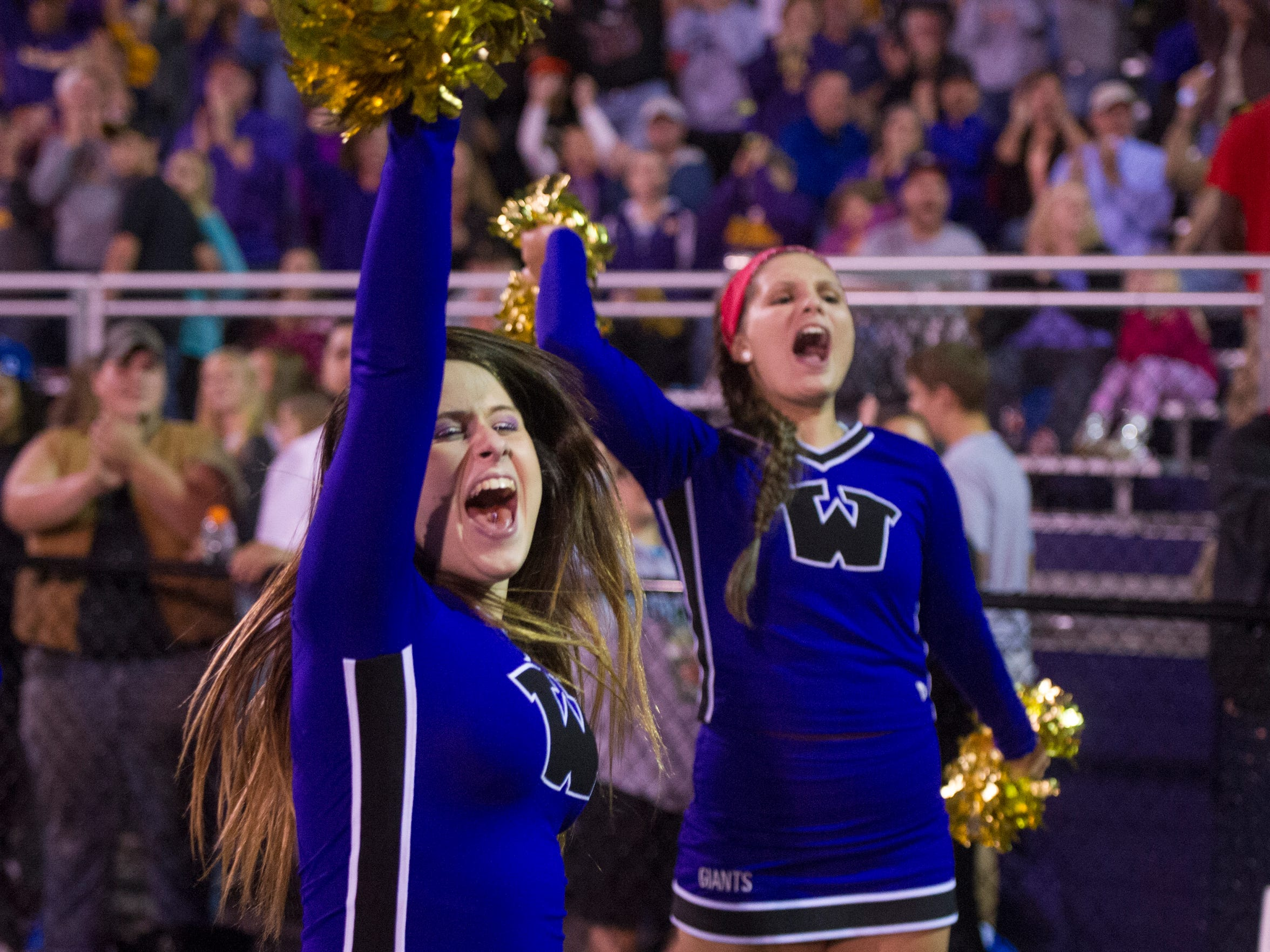 Waynesboro cheerleaders celebrate a touchdown during