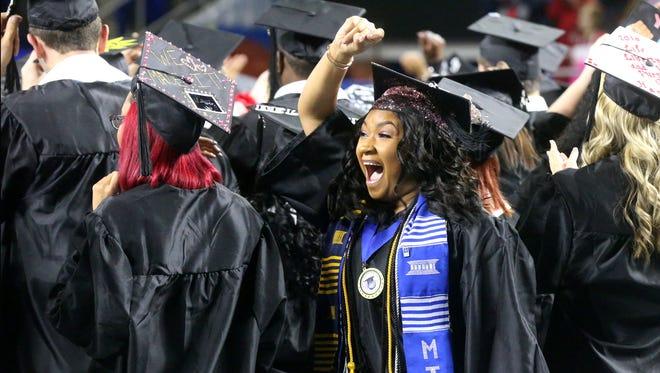 MTSU graduate Alexis Porter during the university's Winter 2016 commencement.