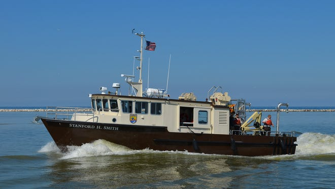 The Stanford H. Smith arrives in Kewaunee harbor June 27, where it will be homeported at the U.S. Corps of Engineers site.