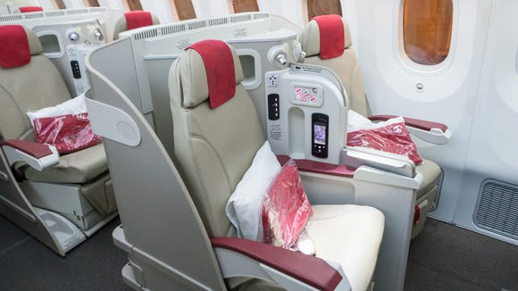 The business-class cabin on Royal Air Maroc's Boeing