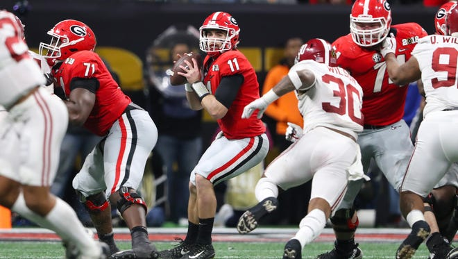Georgia quarterback Jake Fromm looks to throw against Alabama during the College Football Playoff championship game in Atlanta.