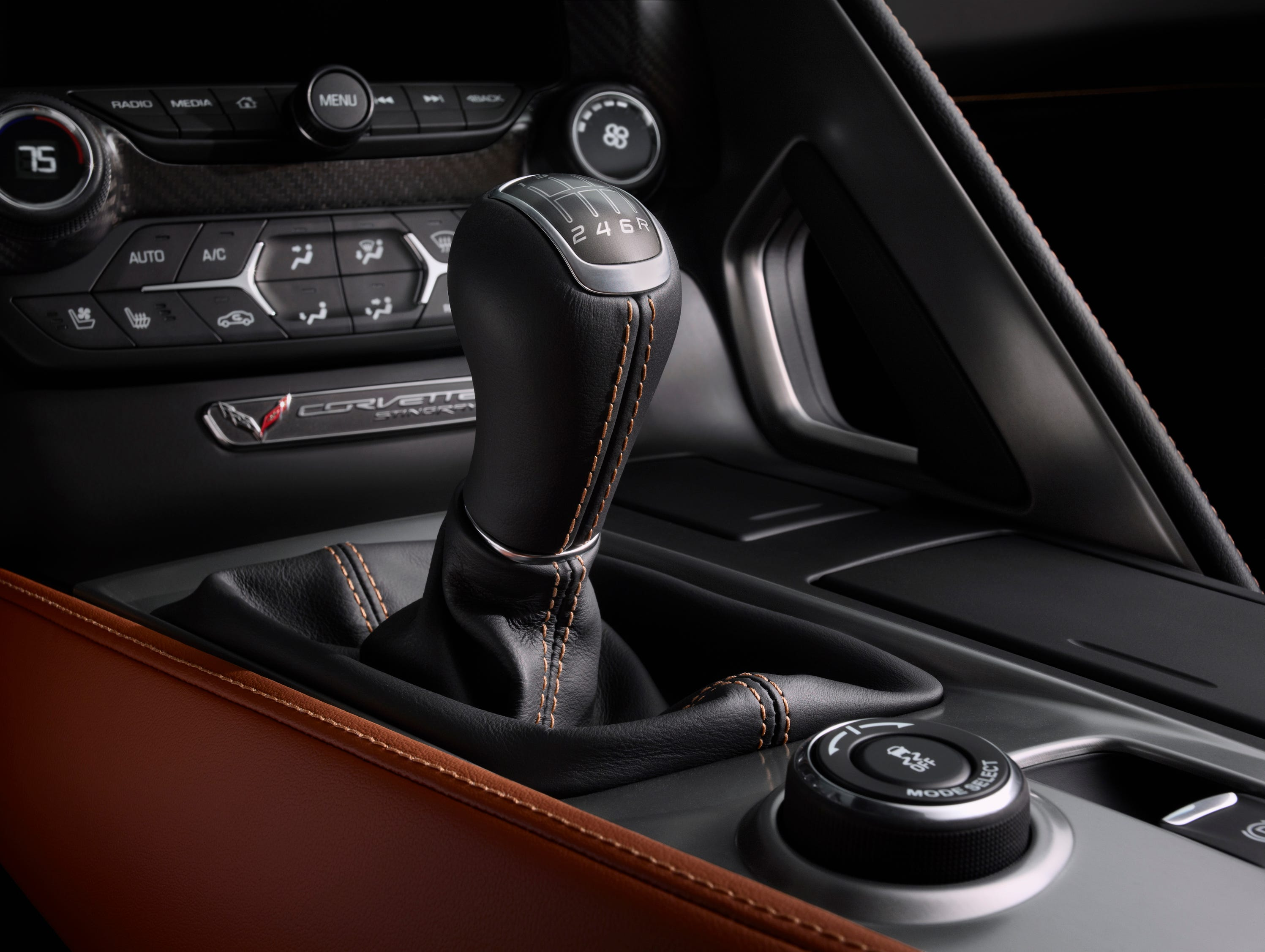 """The Stingray will offer a seven-speed manual transmission with """"active rev matching."""" The knob with the shifter is for selecting driving modes."""