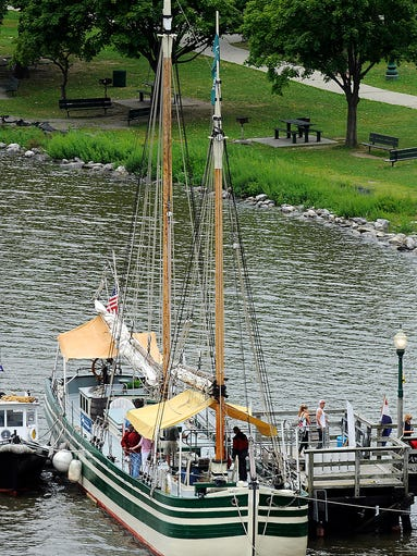 The schooner Lois McClure docked at Waryas Park in the City of Poughkeepsie on Tuesday. Visitors were able to take self-guided tours of the full-scale replica of an 1862-class sailing canal boat.