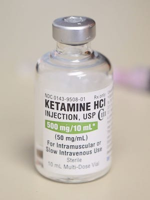 In this 2018 file photo is a vial of ketamine, which is normally stored in a locked cabinet, in Chicago.