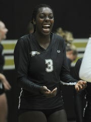 Junior middle blocker Taylor Hunter, who is headed