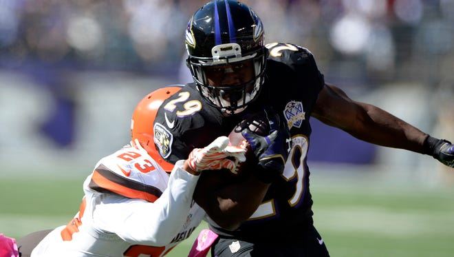 Ravens running back Justin Forsett has back-to-back games of more than 120 yards rushing, but is dealing with an ankle injury.