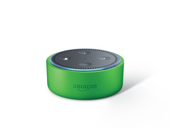 Echo Dot Kids Edition in green.