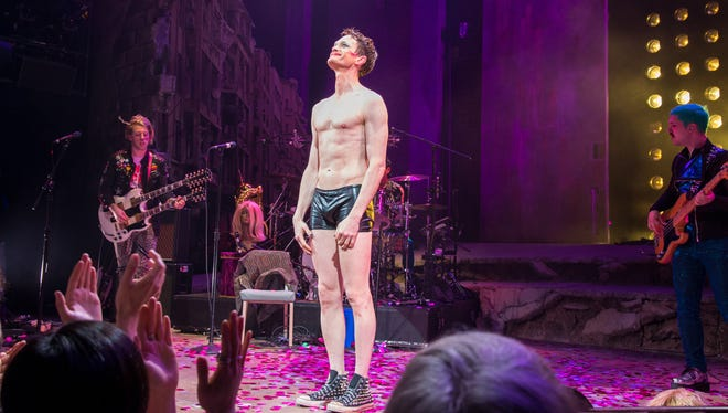 """Neil Patrick Harris basks in the applause during the opening-night curtain call for """"Hedwig and the Angry Inch""""  on Broadway on April 22."""