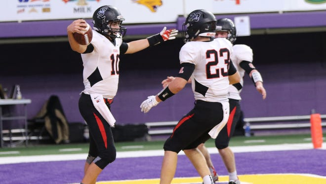 Logan Backhaus of Spirit Lake celebrates a touchdown against Mount Vernon in the Class 2A Championship game on Monday.