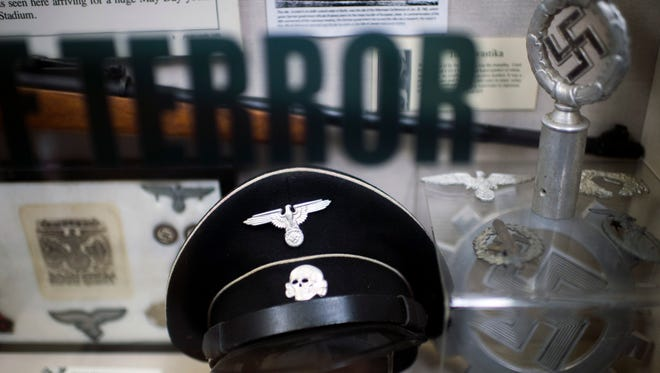 Artifacts from Nazi Germany on display inside the Esther Raab Holocaust Museum.