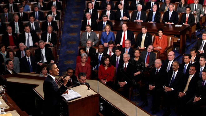 In this Jan. 24, 2012 file photo, President Barack Obama delivers his State of the Union address on Capitol Hill in Washington. As President Barack Obama delivers his State of the Union speech Tuesday night, Feb. 12, 2013, he presides over an economy much healthier than the one he inherited four years ago. Yet growth remains slow and unemployment high. (AP Photo/Evan Vucci, File) ORG XMIT: NY110