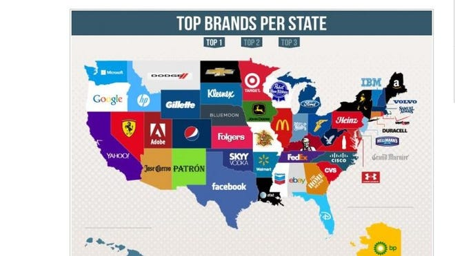 A study revealed the most searched brands by state