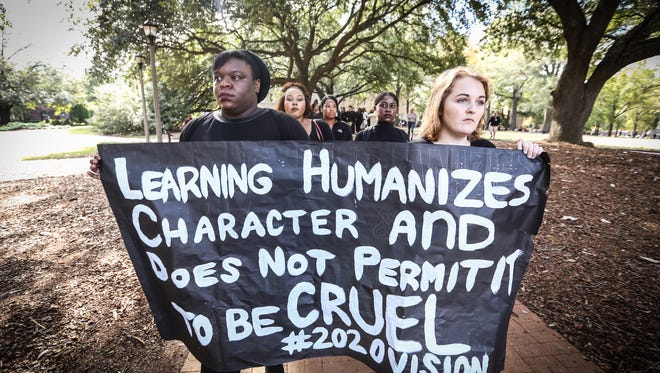 About 150 students walked out of class Monday at the University of South Carolina to protest alleged inequalities at the university.