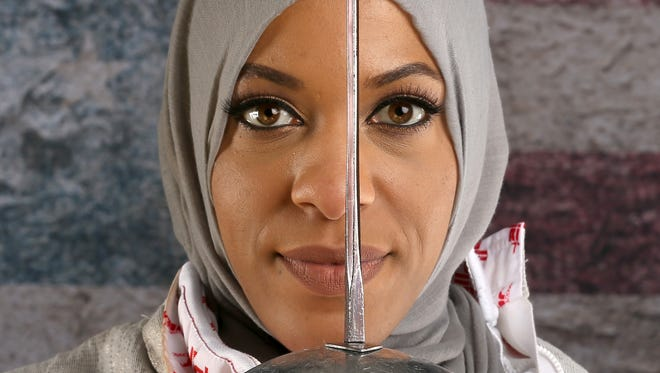 Ibtihaj Muhammad, the first American woman to compete in the Games wearing a hijab, begins her fencing program Monday.