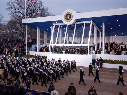 The United States Navy Band marches past the reviewing stand during the second inaugural parade for President George W. Bush in Washington, D.C., on Jan. 20, 2005.