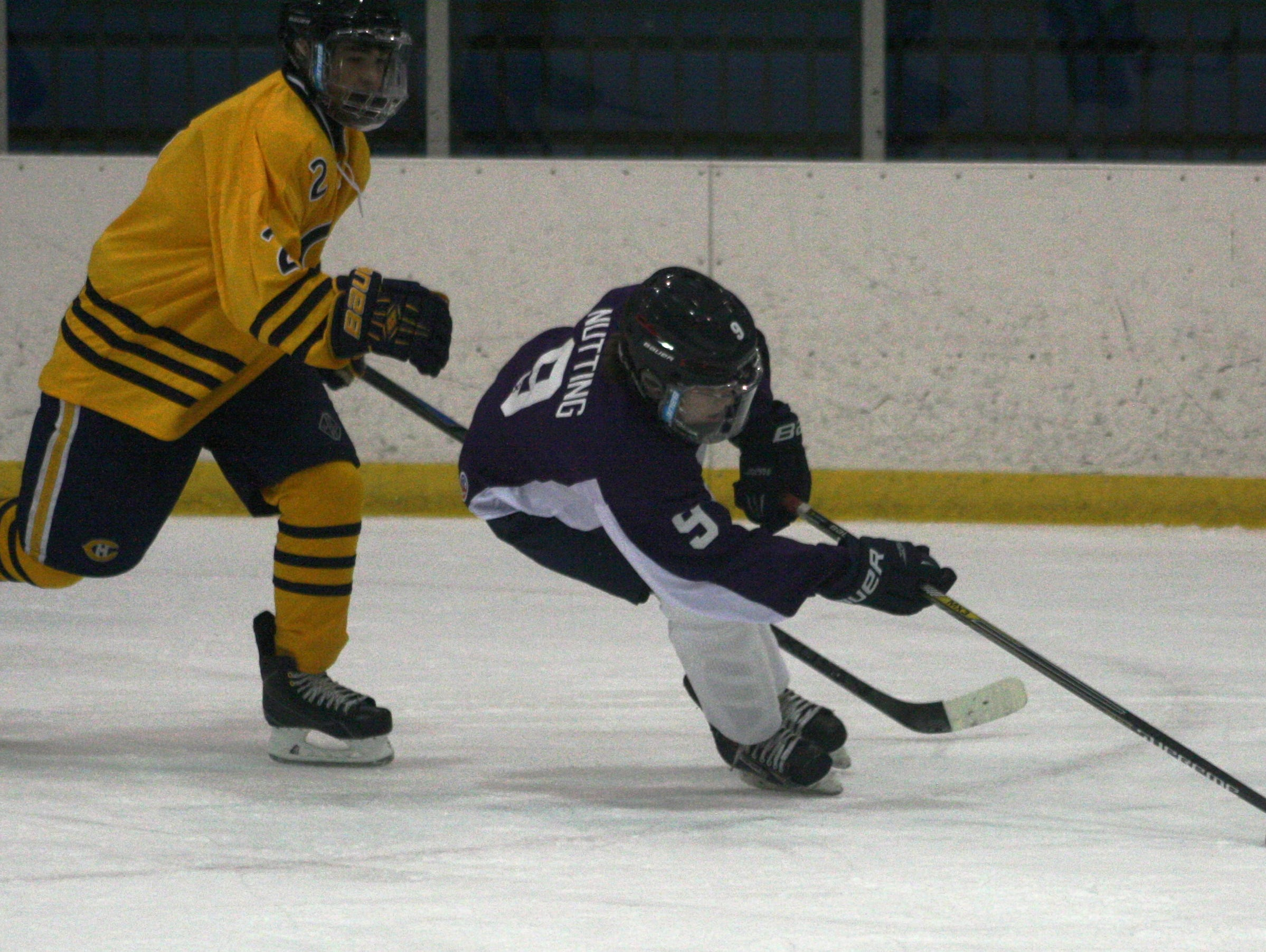 Franklin's Brendan Nutting made this strong first-period rush at the net.