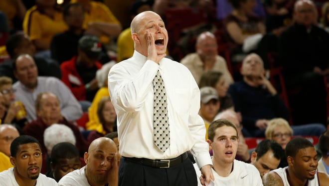 ASU coach Herb Sendek yells instructions to his team during the second half against Stanford at Wells Fargo Arena in Tempe, Ariz. February 26, 2014.