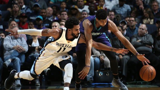 Memphis Grizzlies Mike Conley pressures Charlotte Hornets Jereny Lamb on defense at FedExForum.