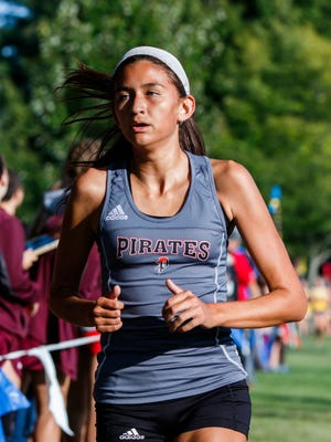 Pewaukee sophomore Ariana Delacerda competes in the West Allis Hale Leighton Betz Invitational cross country meet at Greenfield Park on Friday, Sept. 1, 2017.