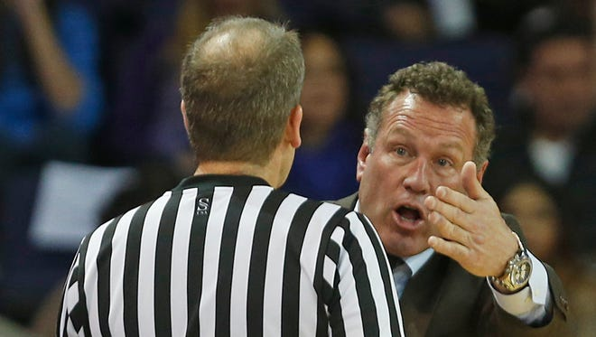 Grand Canyon University men's basketball coach Dan Majerle yells at a referee during a game against Hampton at GCU Arena on Nov. 30, 2015, in Phoeni.