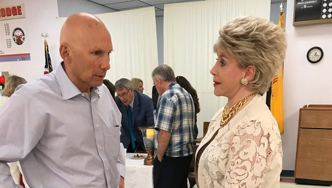 Senate candidate Mick Rich talks with a Chaves County Republican during a Republican Party Women's luncheon Wednesday. Rich hopes to visit with Republicans in Otero and Lincoln counties soon.