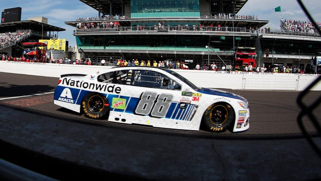 Dale Earnhardt Jr. races past the start/finish line during Sunday's Brickyard 400 at Indianapolis Motor Speedway.