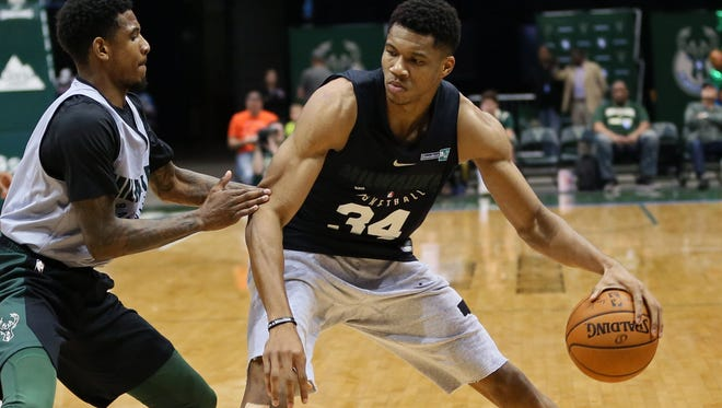 Giannis Antetokounmpo has played in just one of the Bucks' preseason games, but his improved strength has showed.