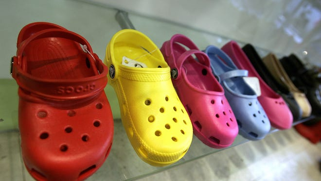 A sample of Crocs shoes on display in a midtown New York City shoe store is seen in this February 21, 2007 file photo.