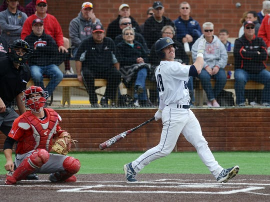 Patrick O'Donnell bats for Augie as they play St. Cloud State Friday in the NSIC baseball tournament at Augie, May 8, 2015.