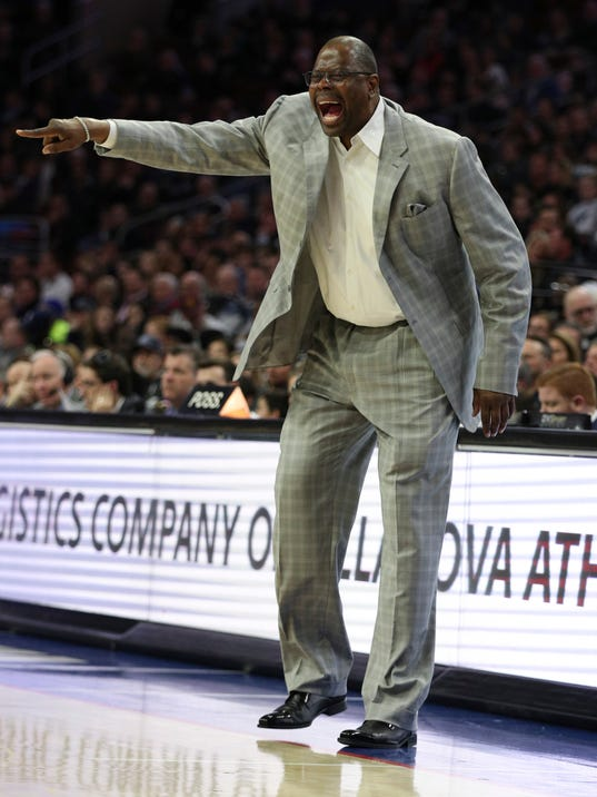Georgetown head coach Patrick Ewing reacts on the sidelines during the second half of an NCAA college basketball game against Villanova, Saturday, March 3, 2018, in Philadelphia. Villanova won 97-73. (AP Photo/Chris Szagola)