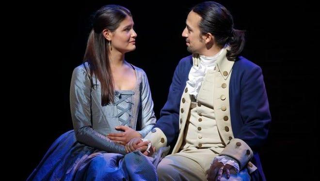 "Phillipa Soo and Lin-Manuel Miranda perform in Miranda's  ""Hamilton: An American Musical,"" one of Broadway's hottest tickets."