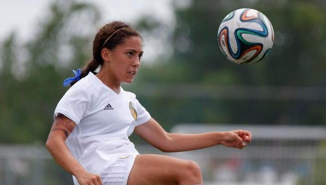 Michigan Chill's Eva Gonzales controls the ball against FC Indiana Sunday at the Hope Sports Complex. Michigan Chill won 2-1.