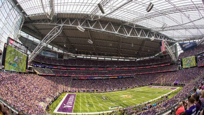 A general view of U.S. Bank Stadium during the first quarter in a preseason game between the Minnesota Vikings and the San Diego Chargers at U.S. Bank Stadium. The Vikings won 23-10.