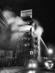 Weegee photograph of a Brooklyn fire, 1943: The factory