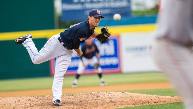 Binghamton Mets' starting pitcher Tyler Pill delivers a pitch against the Portland Sea Dogs at NYSEG Stadium on Thursday, July 28.