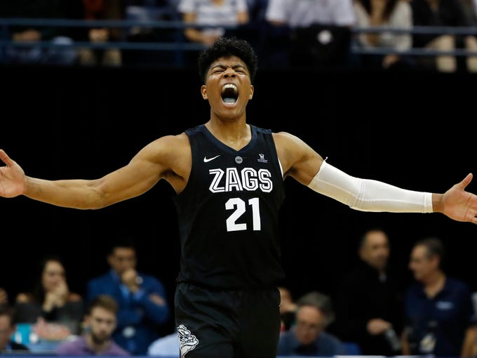 Gonzaga forward Rui Hachimura reacts during the second half of the team's NCAA college basketball game against San Diego, Saturday, Feb. 16, 2019, in San Diego. (AP Photo/Gregory Bull)
