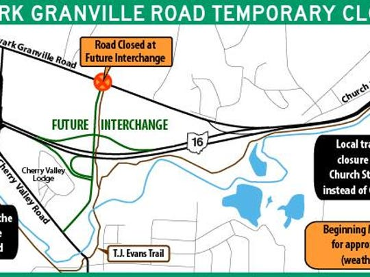A graphic showing the temporary closure of Newark Granville Road.