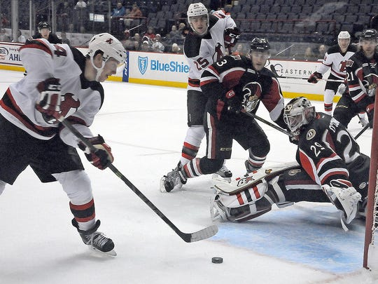 Albany's Reid Boucher shoots against the Binghamton Senators at the Times Union Center in a 2015 game.